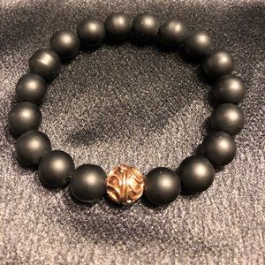 Matte Black Agate Stretch Bead Bracelet